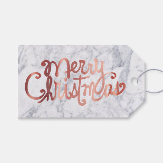 rose gold Merry Christmas calligraphy on marble Gift Tags