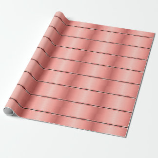 Rose Gold Metal Stripes Wrapping Paper