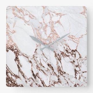 Rose Gold Metallic Copper  Marble Stone Minimal Square Wall Clock