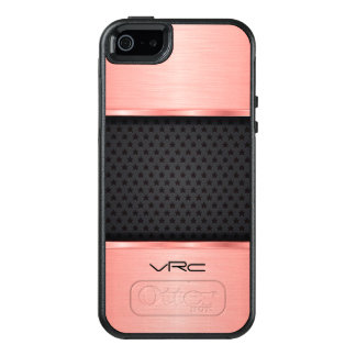 Rose Gold Metallic Design And  Black OtterBox iPhone 5/5s/SE Case