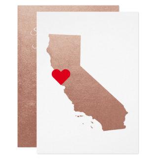 Rose Gold Metallic Foil California Wedding Card