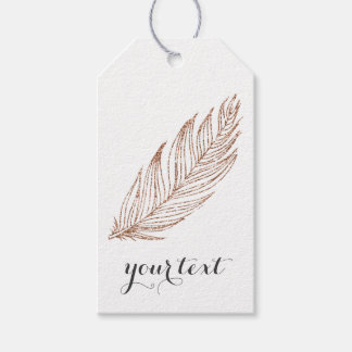 Rose Gold Metallic Glitter Feather Gift Tags