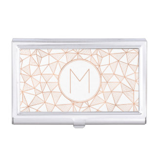 Rose Gold Modern Geometric Pattern Monogram Business Card Holder