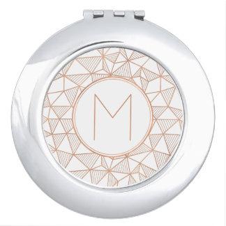 Rose Gold Modern Geometric Pattern Monogram Mirrors For Makeup