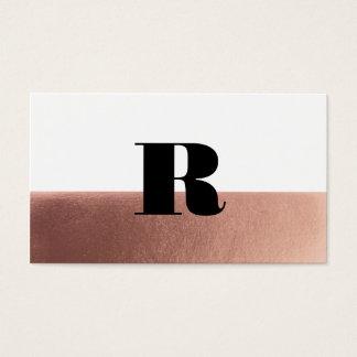 Rose gold monogram faux foil business card