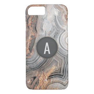 Rose gold monogram gray geode phone cover crystal