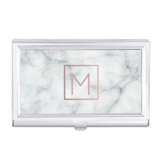 rose gold monogram on marble case for business cards