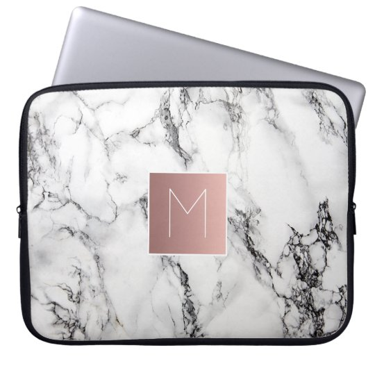 rose gold monogram on marble laptop sleeve