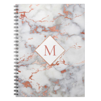 rose gold monogram on marble texture notebook