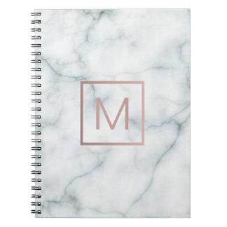 rose gold monogram on stone notebooks