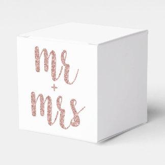 Rose gold Mr. & Mrs. favor boxes, glitter Favour Box