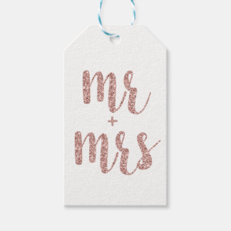 Rose gold Mr. & Mrs. favor tags, glitter Gift Tags