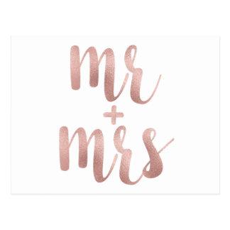 Rose gold Mr. & Mrs. postcards