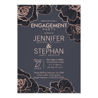 Rose Gold Navy Blue Flowers Engagement Party Card