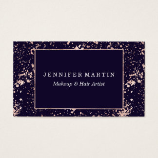 Rose Gold Navy Blue Paint Splatters Business Card