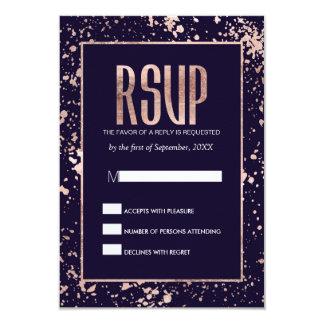 Rose Gold Navy Blue Paint Splatters RSVP Cards 9 Cm X 13 Cm Invitation Card
