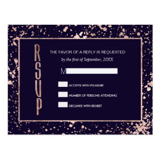 Rose Gold Navy Blue Paint Splatters RSVP Postcards