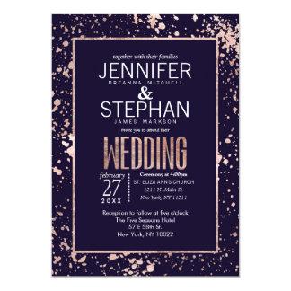 Rose Gold Navy Blue Paint Splatters Wedding Invite