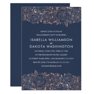 Rose Gold & Navy | Chic Floral Engagement Party Card
