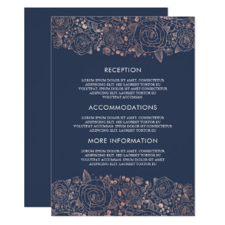 Rose Gold & Navy | Chic Floral Wedding Guest Card