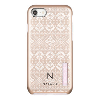 Rose Gold Nordic Pattern Monogram Incipio DualPro Shine iPhone 8/7 Case