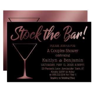 Rose Gold Ombre Stock the Bar Couples Shower Card