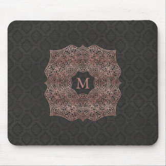 Rose Gold on Black Damask Personalized Monogram Mouse Pad