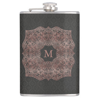 Rose Gold on Black Personalized Monogram Initial Flask