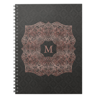Rose Gold on Black Personalized Monogram Notebooks