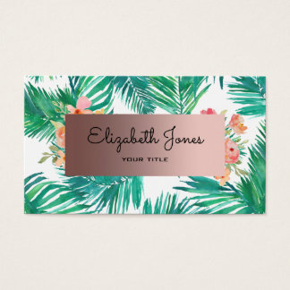 rose gold on watercolor tropical business card