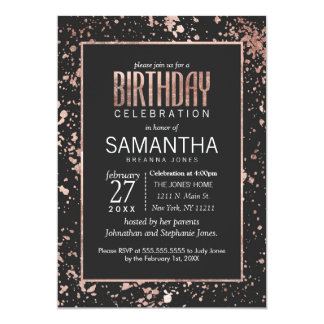 Rose Gold Paint Splatters Birthday Party Invites