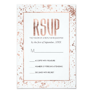 Rose Gold Paint Splatters RSVP Cards