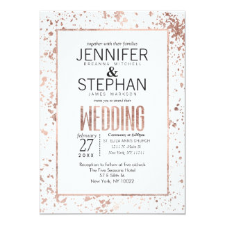 Rose Gold Paint Splatters Wedding Invitations