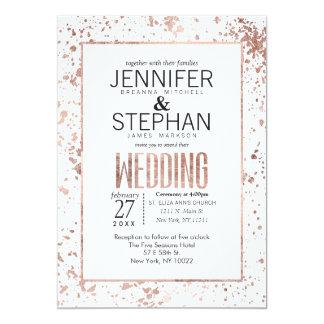 Rose Gold Paint Splatters Wedding Invitations