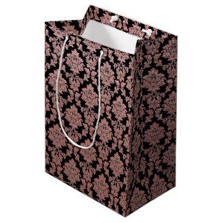 Rose Gold & Peach glitter and black floral damask Medium Gift Bag