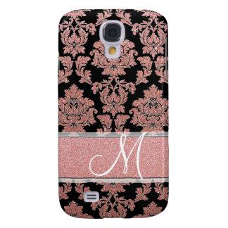 Rose Gold & Peach glitter & black damask, Monogram Samsung Galaxy S4 Cover