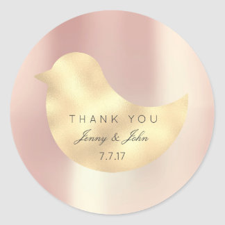 Rose Gold Pearly Silk Foxier Bird  Thank you Round Sticker