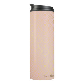 Rose Gold Personalised Geometric Travel Flask Thermal Tumbler