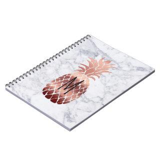 rose gold pineapple monogram spiral notebook