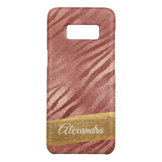 Rose Gold Pink Animal Print with Gold Glitter Case-Mate Samsung Galaxy S8 Case