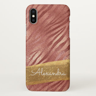 Rose Gold  Pink Animal Print with Gold Glitter iPhone X Case