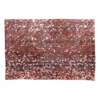 Rose Gold Pink Faux Glitter All Over Print Pillowcase