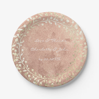 Rose Gold Pink Foxier Gold Wreath Copper Thank You Paper Plate