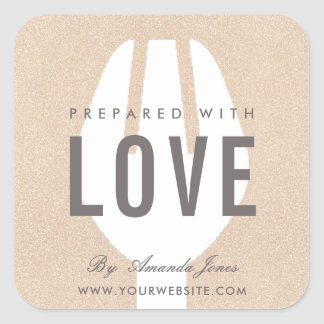 ROSE GOLD PINK GLITTER FORK PREPARED WITH LOVE SQUARE STICKER