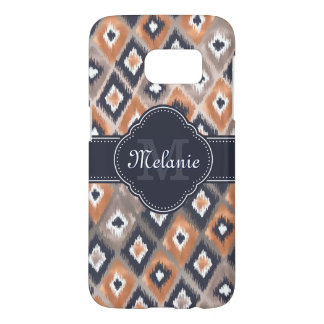 Rose Gold Pink Ikat Pattern Navy Monogram