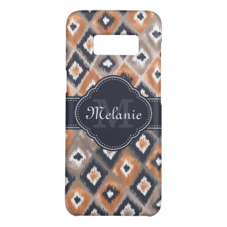 Rose Gold Pink Ikat Pattern Navy Monogram Case-Mate Samsung Galaxy S8 Case