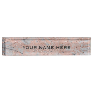 Rose Gold Pink Marble Glitter Glam Personalized Name Plate