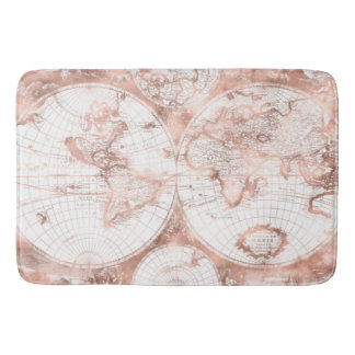 Rose Gold Pink Metal Glitter Antique World Map Bath Mat
