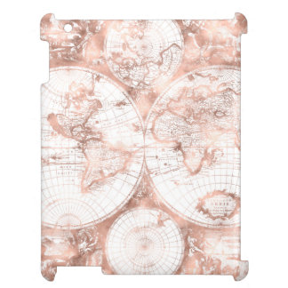Rose Gold Pink Metal Glitter Antique World Map Case For The iPad