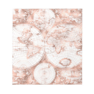Rose Gold Pink Metal Glitter Antique World Map Notepad